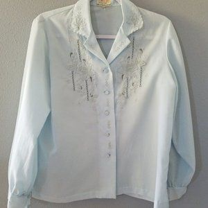 Blue Vintage Blouse w/Embroidery from China, Large
